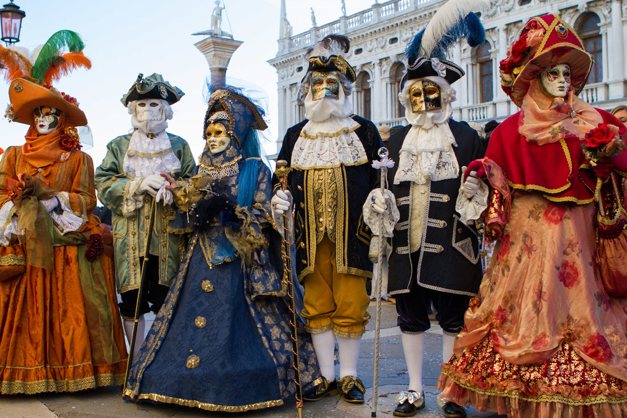 Group in beautiful costumes at the Carnival of Venice