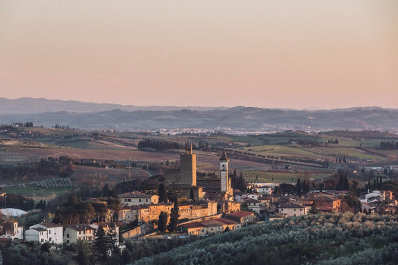 Sunset over the Tuscan town of Vinci