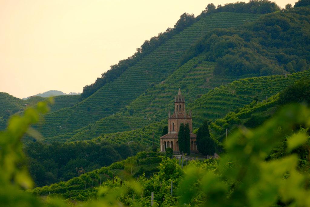 View of the green Prosecco wine hill - Saint Martin Temple - Tempio di S. Martino - Conegliano Valdobbiadene - Strada del Prosecco