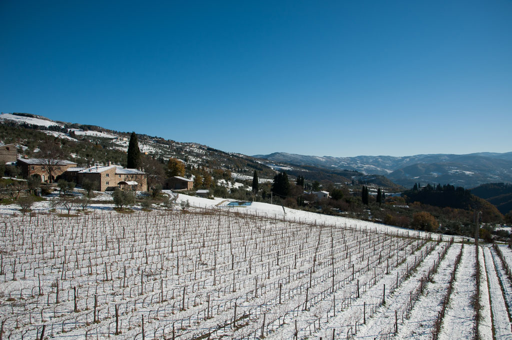 The Estate of Petroio in Winter snow