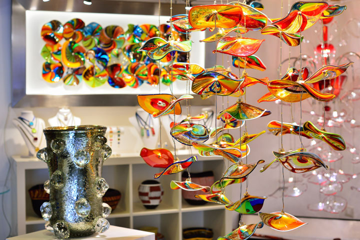 The interior of the Venetian souvenir shop. Murano glass