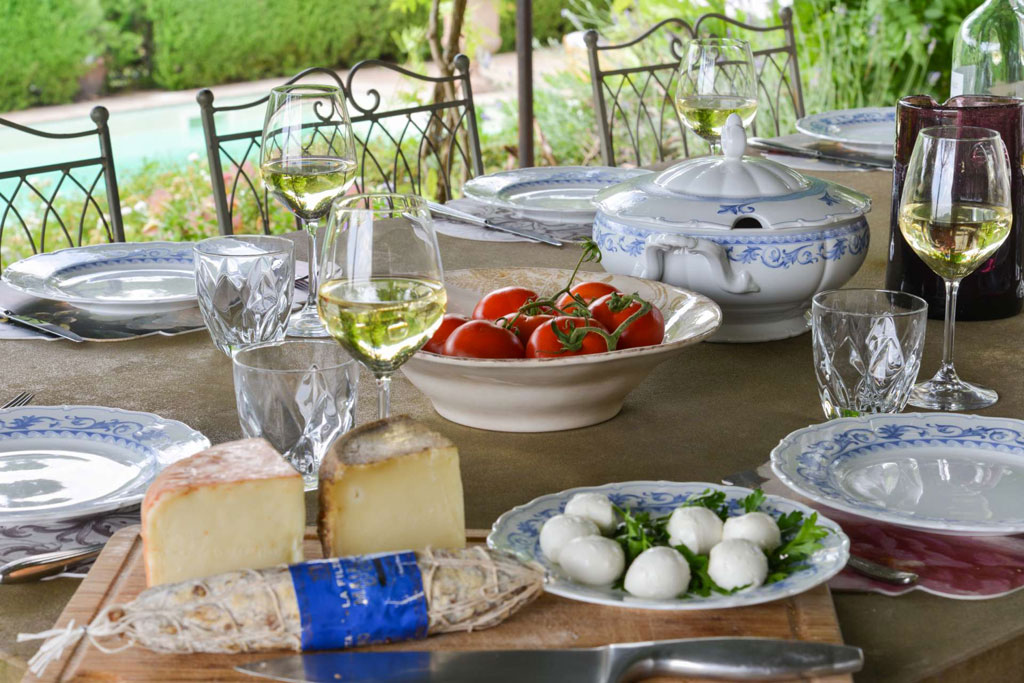Aperitivi italiani with cold pasta salads, crudite and salami