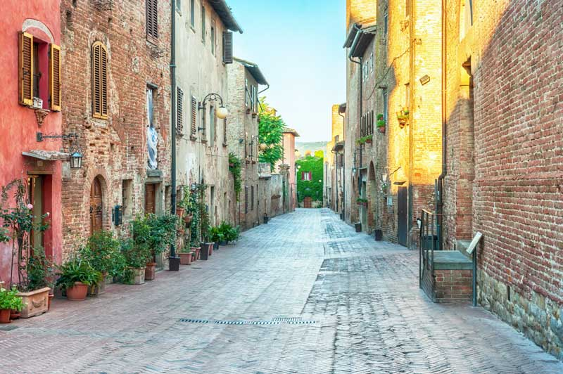 Medieval street view in Certaldo, Italy.