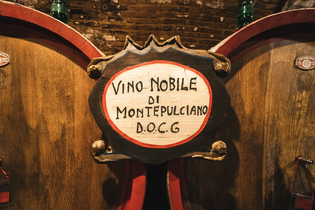 Montepulciano vino nobile barrels
