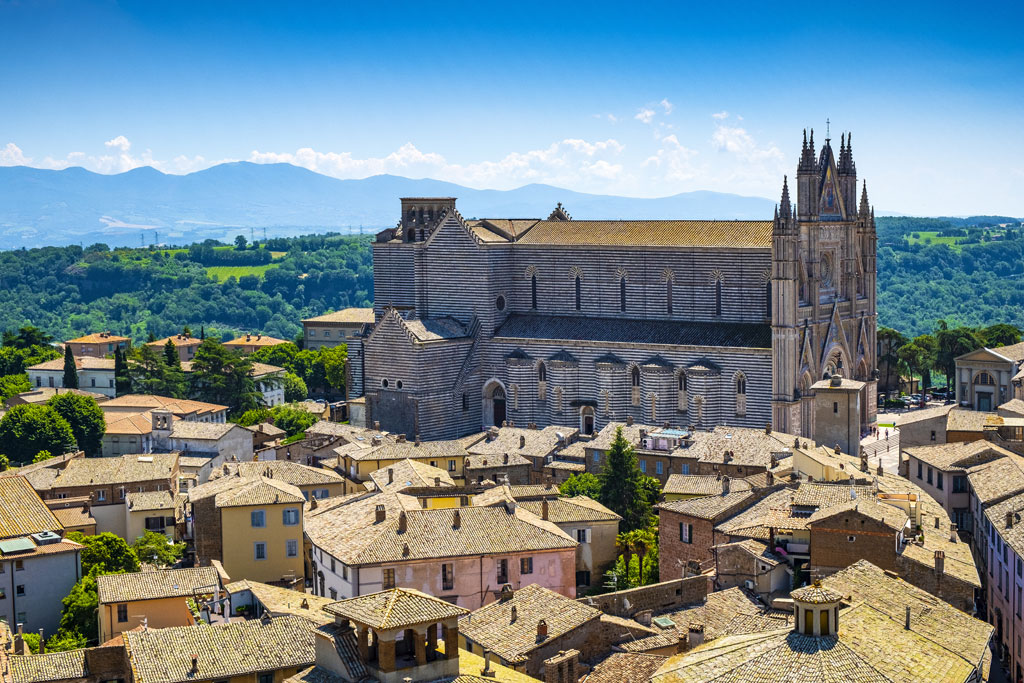 Orvieto, Italy - Panoramic view of Orvieto old town and Umbria region with Piazza Duomo square and Duomo di Orvieto cathedral