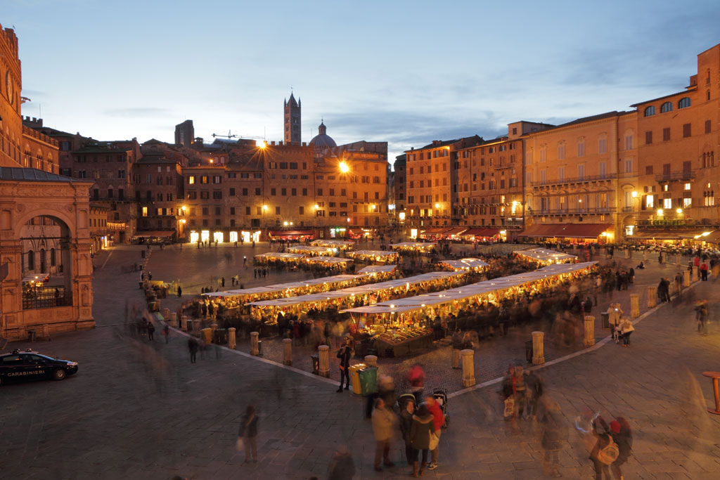 Siena market by night