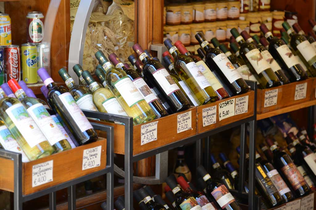 Bottles of wine in Tuscany market