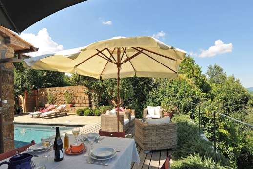La Ciambella - The main terrace with its small but private swimming pool, 4.5 x 8m/14 x 26 feet.