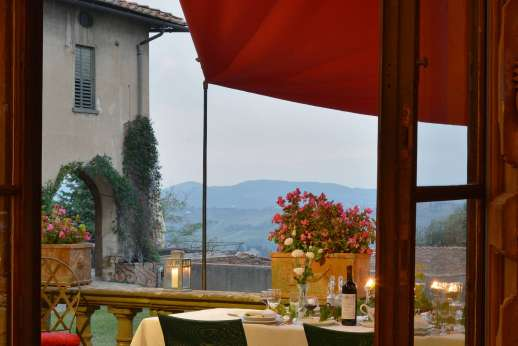 Villa di Bonorlo - View from the terrace overlooking the southern Chianti hills.