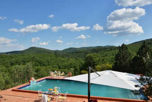 Tenuta il Poggio - The swimming pool, 15 x 17.5/49 x 57 feet, is set into a broad terracotta terrace.