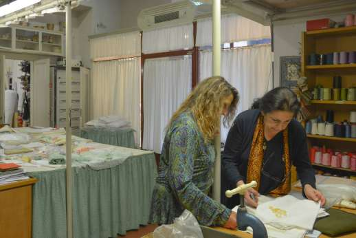 The Artisans of Florence - An Italian artisan working on a piece of clothing during a workshop in Tuscany