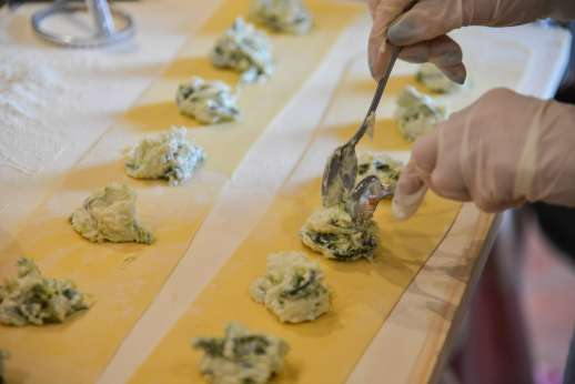 Florence Market Tour - Fillings are placed in an Italian pasta