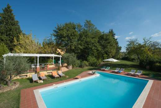 Podere San Carlo - The pool is set on a terracotta terrace across the garden.