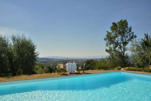 Il Nido del Picchio - The shared swimming pool, 8 x 12 meters/26 x 38 feet with views of Florence