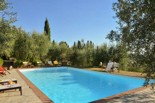 Il Nido del Picchio - The pool on a lower terrace overlooking Florence, about 100m/330 feet from the house and it is reachable through a stone staircase
