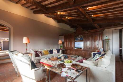 Il Nido del Picchio - Living room with sofas armchairs and satellite TV with Sky channels.