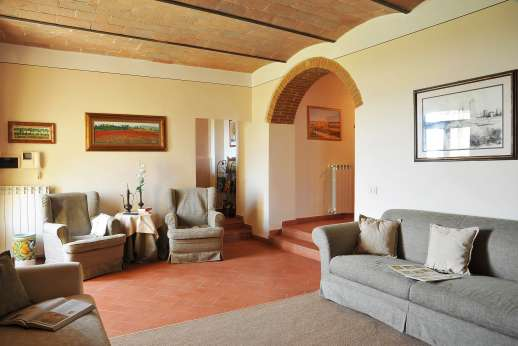 San Leolino (x 12 people) with Staff and Cook - Ground floor, living room with stone vaulted ceilings.