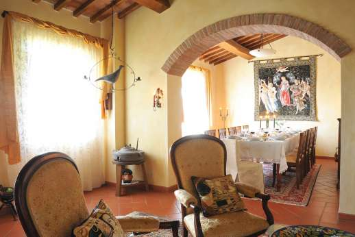 San Leolino (x 12 people) with Staff and Cook - First floor, reading room, leading into the large dining room.