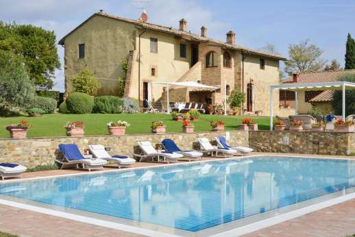 San Leolino (x 12 people) with Staff and Cook - The swimming pool is set on a lower terrace enjoying stunning views.