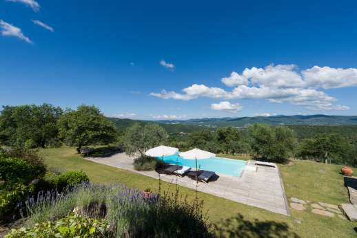 Villa Ambra - Pool terrace enjoys spectacular views of some of the most stunning countryside in Tuscany.