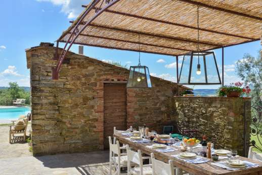 Villa Ambra - Shaded outside dining by the villa within view of the pool
