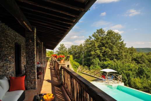 Campo Chinandoli - Full view of the shaded balcony above to pool