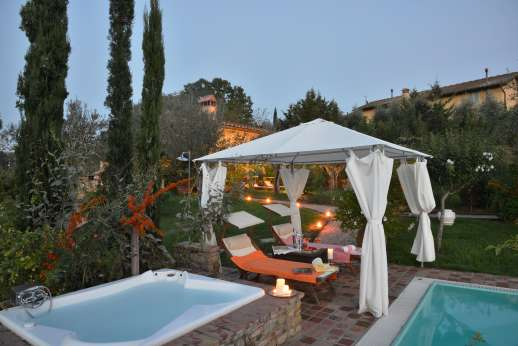 Colli Fiorentini - Pool terrace with shaded pergola.