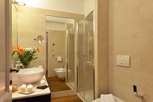 I Giullari - The en suite bathroom with shower on the ground floor, independent bedroom accessible from outside