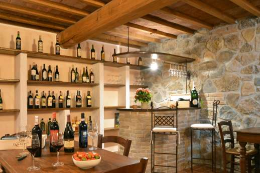 Il Chiesino - The wine cellar with bar and sitting area.