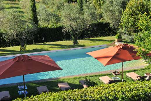 Il Merlano - Shaded umbrellas by the pool and olive trees