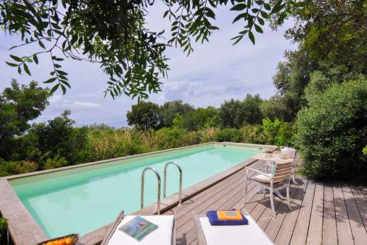 Isola Rossa - The private swimming pool, 3.5 x 10m/11 x 32 feet just along the way from the main house enjoys spectacular sea views.