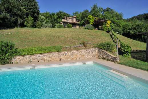 L'Olmo (x 2 people) with Staff and Cook - The pool has steps and a shallow area suitable for children.