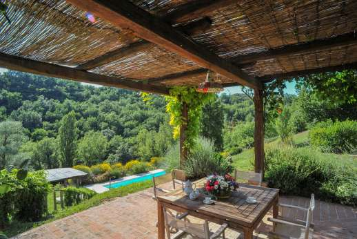 L'Olmo (x 4 people) with Staff and Cook - Shaded loggia by the villa looking onto the pool