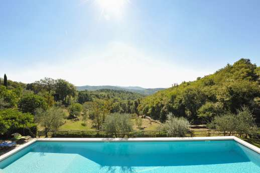 La Casa di Montegrossi - The pool terrace sits sits on a lawned terrace below the house.