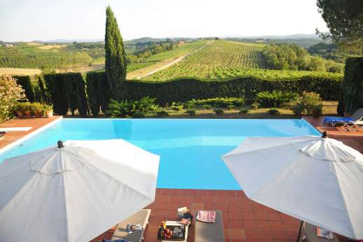 La Casa Rossa - The private swimming pool, 7 x 14 meters/23 x 46 feet, set a few stone steps lower than the house.
