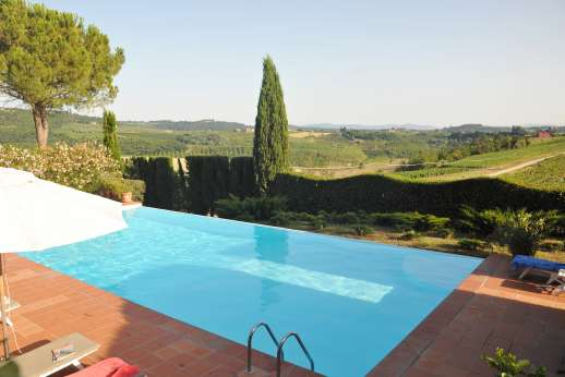 La Casa Rossa - Beautiful pool terrace with views over the beautiful rolling Tuscan countryside.