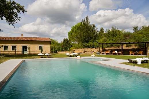 La Magione - The salt water swimming pool, 6 x 12m/19 x 39 feet, which has an attached shallow area for children