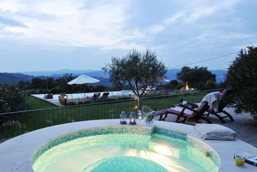 La Pianstella - Stunning views from the night time hot tub.
