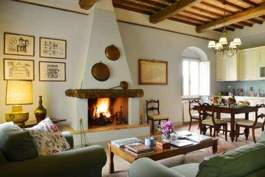 La Villa Di Petroio - The working fireplace of the east guest wing.
