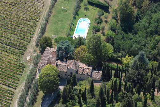 La Villa Di Petroio - Arial photo of La Villa Di Petroio showing pool and football pitch.