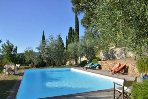 Limonaia - The garden with secular trees and cypresses along with the shared swimming pool set on a lower terrace.