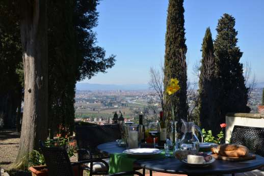 Limonaia - Seating area enjoys views across Florence.