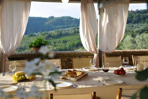 Podere Celli - The large Loggia with amazing views.