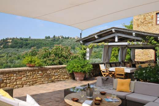 Podere Celli - A picture-perfect Tuscan farmhouse, Podere Celli and its old stone walls blend beautifully into the vine covered hills of western Chianti.
