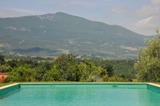 Poggio Alto - The swimming pool, 8 x 15 meters /26 x 49 feet, is set about 50m/yards from the house across level grounds.