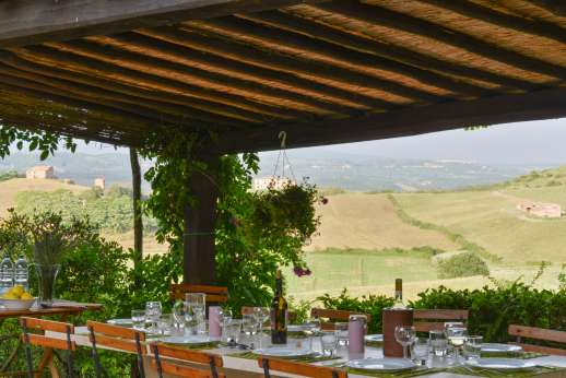 Poggio Alto - Shaded outside dining with gorgeous panoramic views
