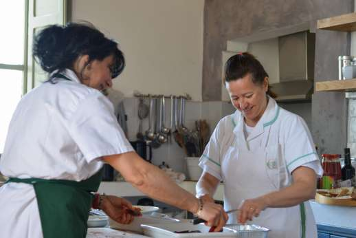 Santi Terzi - Staff preparing meals at the villa.