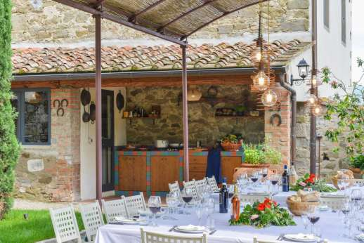 The Estate of Petroio - Summer kitchen in the main garden of the villa, next to the outdoor dining area