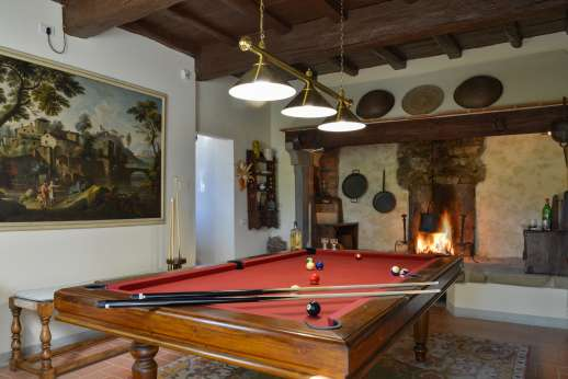The Estate Of Petroio - Billiards table in the west guest wing on the ground floor in La Villa di Petroio