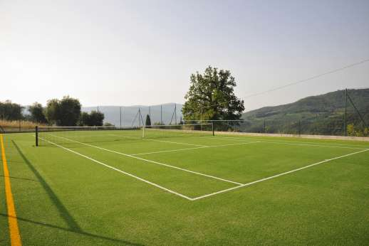 The Estate of Petroio with Staff and Cook - The Estate's astro-turf tennis court.